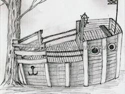 детские игровые сооружения – эскиз игрового корабля, ручная графика