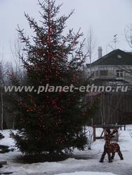 декоративная подсветка деревьев – оформление новогодней ели