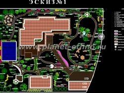 ландшафтное проектирование – компьютерный эскиз, вид сверху