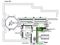 устройство зимнего сада - рабочий эскиз, план сверху